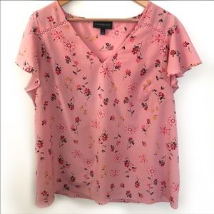 Lane Bryant pink floral short sleeve top size 14